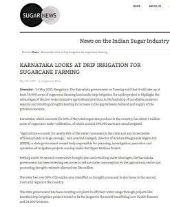 Sugarnews in: Karnataka looks at drip irrigation for sugarcane